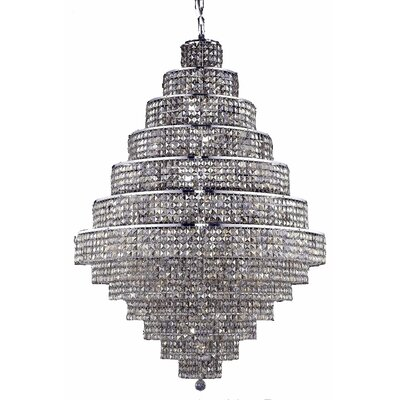 Bratton Contemporary 38-Light Crystal Chandelier Crystal Color / Crystal Trim: Silver Shade (Grey) / Royal Cut