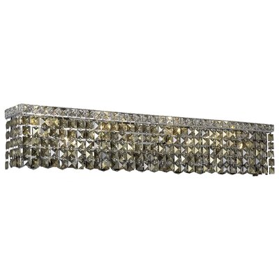 Bratton 8-Light Chrome Wall Sconce Crystal Grade: Royal Cut, Crystal Color: Golden Teak Smoky