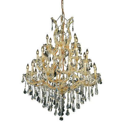 Maria Theresa 28-Light Crystal Chandelier Finish / Crystal Color / Crystal Trim: Gold / Golden Teak (Smoky) / Royal Cut
