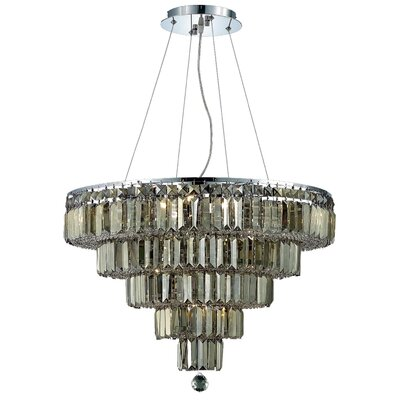 Langer 14-Light Crystal Chandelier Finish: Chrome/Golden Teak, Crystal Grade: Egyptian