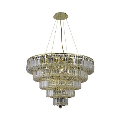 Langer 17-Light Crystal Chandelier Finish: Gold, Crystal Grade: Swarovski Strass