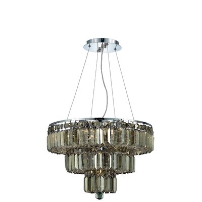 Langer 9-Light Crystal Chandelier Finish: Chrome/Golden Teak, Crystal Grade: Swarovski Strass