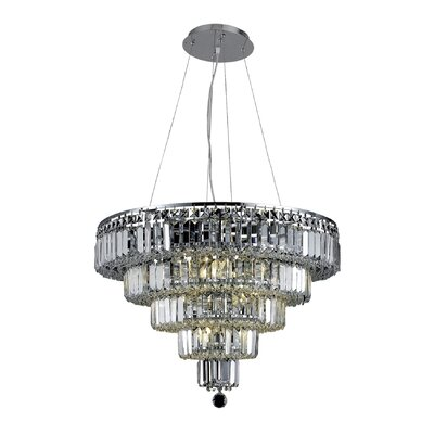 Langer 14-Light Crystal Chandelier Finish: Chrome, Crystal Grade: Elegant-Cut