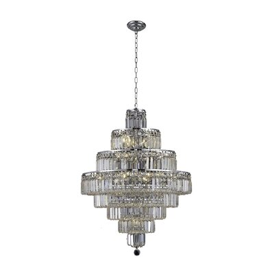 Langer 18-Light Crystal Chandelier Finish: Chrome, Crystal Grade: Elegant-Cut