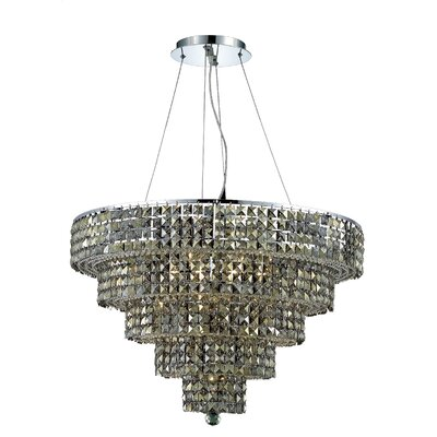 Bratton Contemporary 17-Light Crystal Chandelier Crystal Color / Crystal Trim: Silver Shade (Grey) / Royal Cut