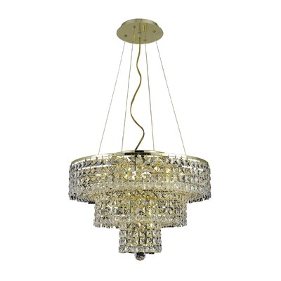 Bratton 9-Light Crystal Chandelier Crystal Trim: Royal Cut