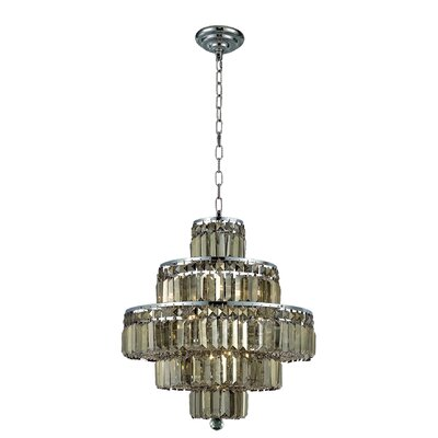 Langer 13-Light Crystal Chandelier Finish: Chrome/Golden Teak, Crystal Grade: Swarovski Strass