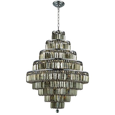 Maxim 20-Light Crystal Chandelier Finish: Chrome, Crystal Color / Crystal Trim: Golden Teak (Smoky) / Royal Cut