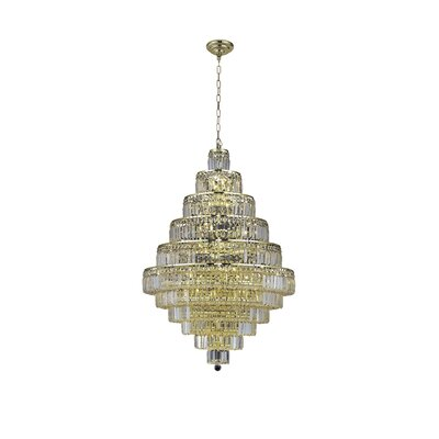 Langer 30-Light Crystal Chandelier Finish: Gold, Crystal Grade: Swarovski Strass