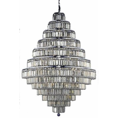 Langer 38-Light Crystal Chandelier Finish: Chrome/Golden Teak, Crystal Grade: Swarovski Strass