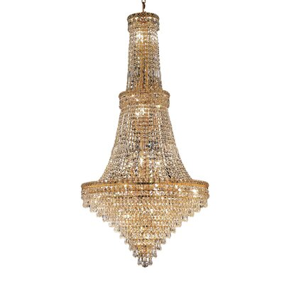 Fulham 34-Light Chain Crystal Chandelier Finish: Gold, Crystal Trim: Chrome / Royal Cut