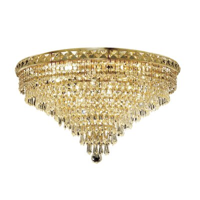 Fulham 12-Light Semi Flush Mount Finish: Gold, Crystal Grade: Chrome / Elegant Cut