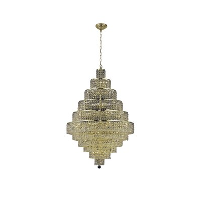 Bratton 30-Light Crystal Chandelier Crystal Trim: Elegant Cut