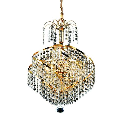 Spiral 3-Light Crystal Chandelier Finish: Gold, Crystal Trim: Royal Cut