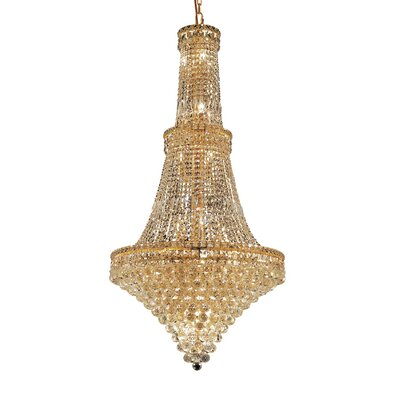 Tillman 34-Light Crystal Chandelier Finish: Gold, Crystal Trim: Chrome / Elegant Cut