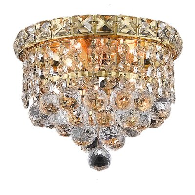 Fulham 2-Light 7 Semi Flush Mount Finish: Gold, Crystal Grade: Chrome / Elegant Cut