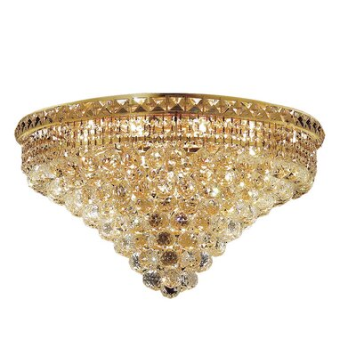 Fulham 12-Light 14 Semi Flush Mount Finish: Gold, Crystal Grade: Chrome / Royal Cut