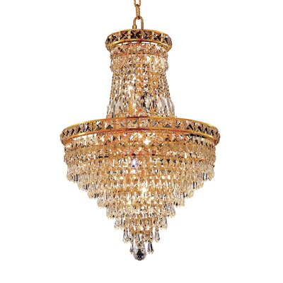 Fulham 12-Light Chain Empire Chandelier Finish: Gold, Crystal Trim: Chrome / Royal Cut