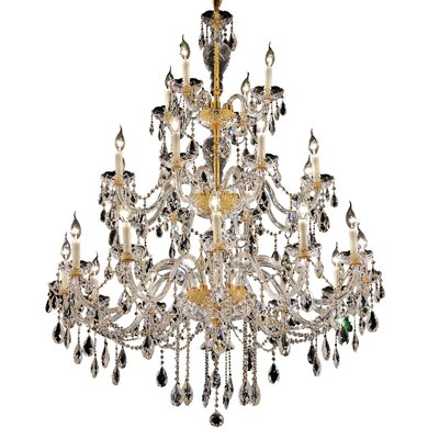Schroeppel 24-Light Crystal Chandelier Color: Gold, Crystal Trim: Strass Swarovski
