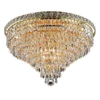 Fulham 10-Light Semi Flush Mount Finish: Gold, Crystal Grade: Chrome / Royal Cut