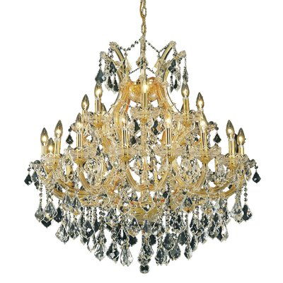 Maria Theresa 24-Light Crystal Chandelier Finish / Crystal Color / Crystal Trim: Chrome / Golden Teak (Smoky) / Strass Swarovski