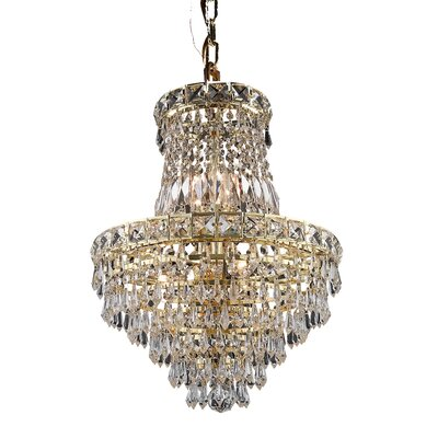 Fulham 6-Light Crystal Empire Chandelier Finish: Gold, Crystal Trim: Chrome / Royal Cut