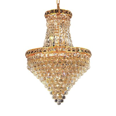Fulham 12-Light Empire Chandelier Finish: Gold, Crystal Trim: Chrome / Elegant Cut