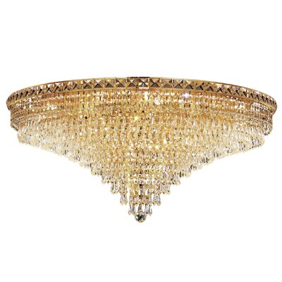 Tranquil 21-Light Semi Flush Mount Finish: Gold, Crystal Grade: Chrome / Royal Cut