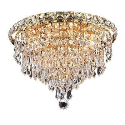 Fulham 4-Light 12 Crystal Semi Flush Mount Finish: Gold, Crystal Grade: Chrome / Strass Swarovski