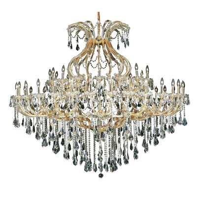 Regina 49-Light Crystal Chandelier Finish / Crystal Color / Crystal Trim: Chrome / Golden Teak (Smoky) / Royal Cut