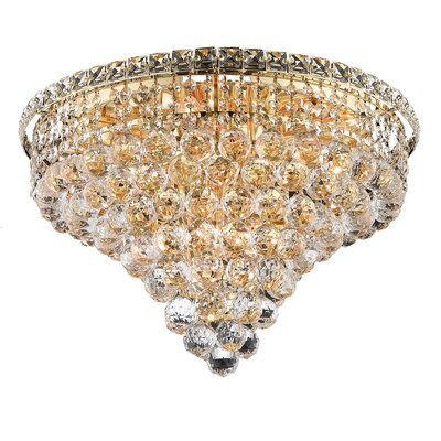Fulham 10-Light 16 Semi Flush Mount Finish: Gold, Crystal Grade: Chrome / Elegant Cut