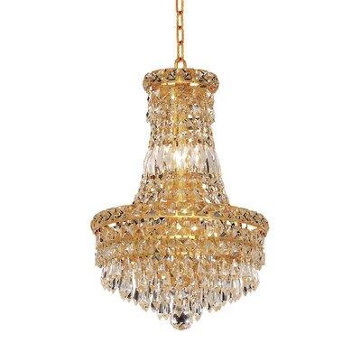 Fulham 6-Light Glass Empire Chandelier Finish: Gold, Crystal Trim: Chrome / Spectra Swarovski