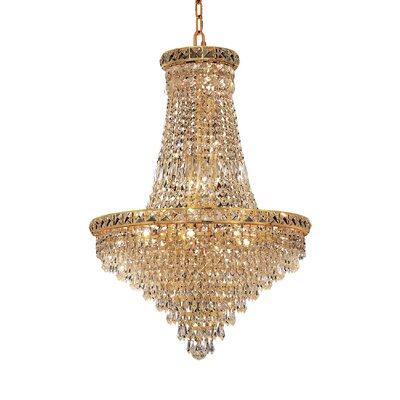 Fulham 22-Light Chain Empire Chandelier Finish: Gold, Crystal Trim: Chrome / Elegant Cut