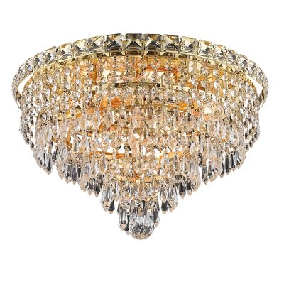 Fulham 6-Light Semi Flush Mount Finish: Gold, Crystal Grade: Chrome / Elegant Cut