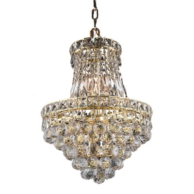 Fulham 6-Light Chain Crystal Empire Chandelier Finish: Gold, Crystal Trim: Chrome / Elegant Cut