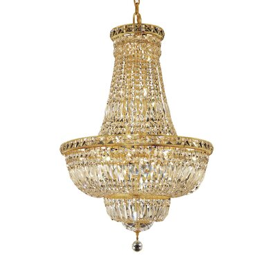 Fulham 22-Light Empire Chandelier Finish: Gold, Crystal Trim: Chrome / Spectra Swarovski