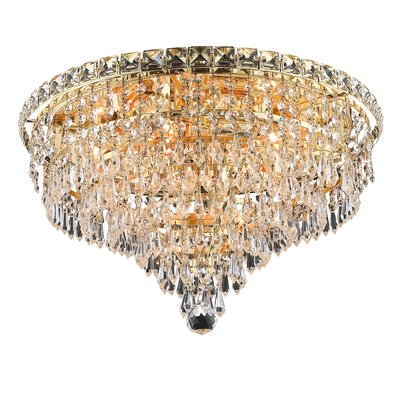 Fulham 8-Light Semi Flush Mount Finish: Gold, Crystal Grade: Chrome / Elegant Cut