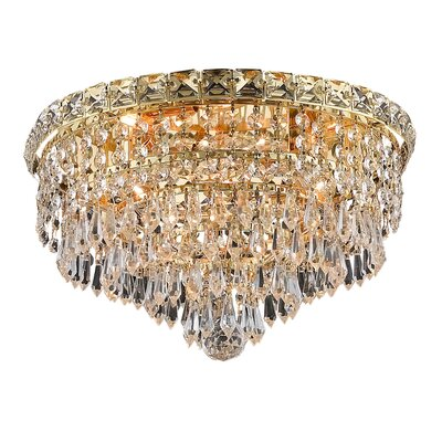 Fulham 4-Light 14 Crystal Semi Flush Mount Finish: Gold, Crystal Grade: Chrome / Spectra Swarovski