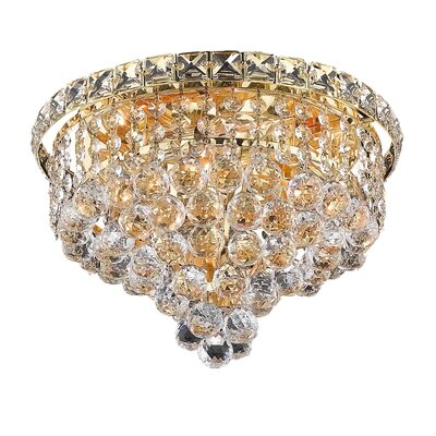 Fulham 4-Light 12 Semi Flush Mount Finish: Gold, Crystal Grade: Chrome / Elegant Cut