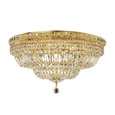 Fulham 12-Light Flush Mount Finish: Gold, Crystal Grade: Chrome / Strass Swarovski
