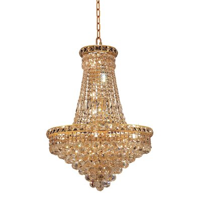 Fulham 22-Light Crystal Empire Chandelier Finish: Gold, Crystal Trim: Chrome / Elegant Cut