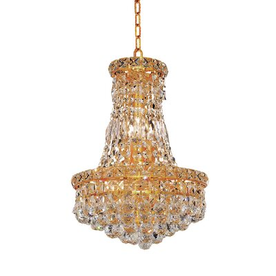Fulham 6-Light Chain Empire Chandelier Finish: Gold, Crystal Trim: Chrome / Royal Cut