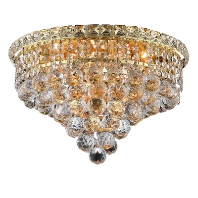 Fulham 6-Light 10 Semi Flush Mount Finish: Chrome, Crystal Grade: Chrome / Strass Swarovski