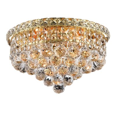 Fulham 4-Light 14 Semi Flush Mount Finish: Gold, Crystal Grade: Chrome / Elegant Cut