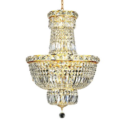 Tranquil 12-Light Crystal Pendant Finish: Gold, Crystal Trim: Chrome / Strass Swarovski