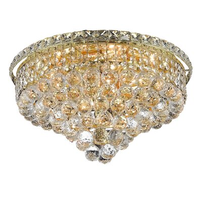 Fulham 8-Light 11 Semi Flush Mount Finish: Gold, Crystal Grade: Chrome / Spectra Swarovski