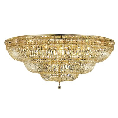 Fulham 33-Light Flush Mount Finish: Gold, Crystal Grade: Chrome / Royal Cut