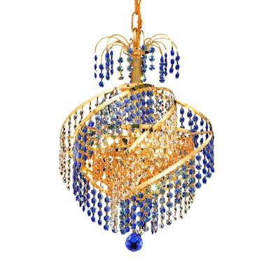 Mathilde 3-Light Crystal Chandelier Finish: Gold, Crystal Trim: Royal Cut