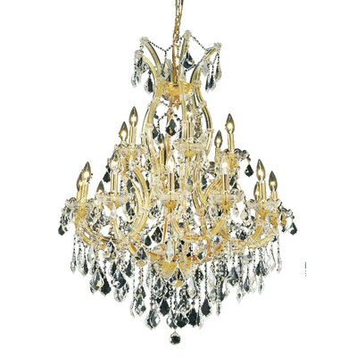 Regina Traditional 19-Light Royal Cut Crystal Chandelier Finish / Crystal Color / Crystal Trim: Gold / Golden Teak (Smoky) / Strass Swarovski