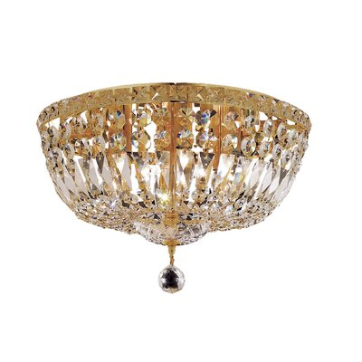 Fulham 6-Light Flush Mount Finish: Gold, Crystal Grade: Chrome / Elegant Cut